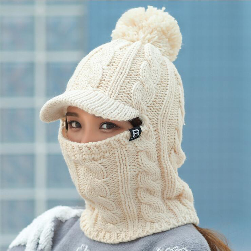 2018 Warm Neck Knit Hat Fur Pompoms Hat Mask Winter Hat For Girl Wool Knitted Hat Female Balaclava Caps Gorras Bonnet