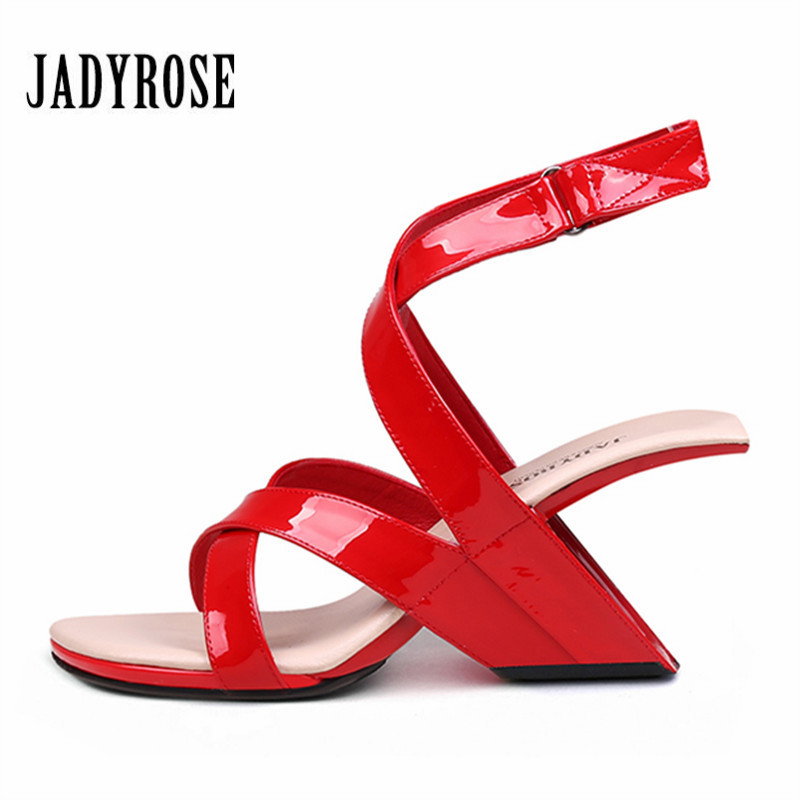 Jady Rose Sexy Red Women Gladiator Sandals Ankle Strap Wedge Shoes Woman 8CM Strange High Heels