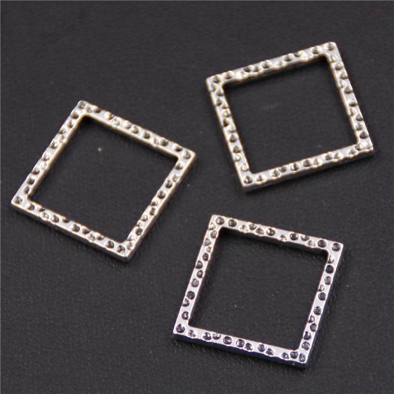 10pcs Antique silver hollow square alloy pendant for DIY necklace earrings charm jewelery findings A416