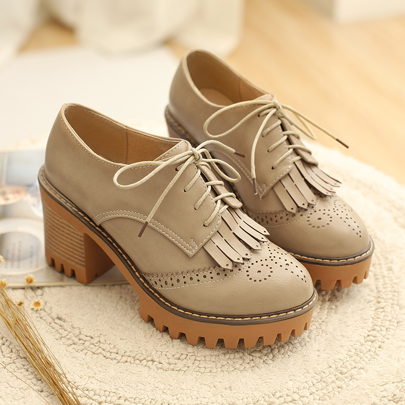 ФОТО New Fashion Brogue Shoes Woman Spring Autumn Lace Up Casual Platform Women Oxfords British Style High Heels Women Shoes