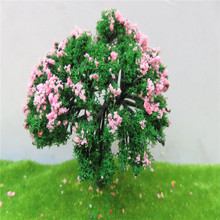 6cm  20pcs/lot architecture new model green with pinke N scale tree for ho train layout 30pcs lot 2018 colorful ho n oo architectural scale model abs plastic green trees 3 10cm model train landscape tree layout