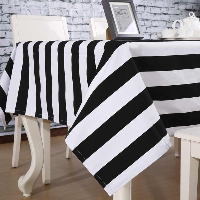 Cotton Canvas Black and White Stripe Fabric European and American Style Pure  Cloth Linen Table  Curtain Sofa