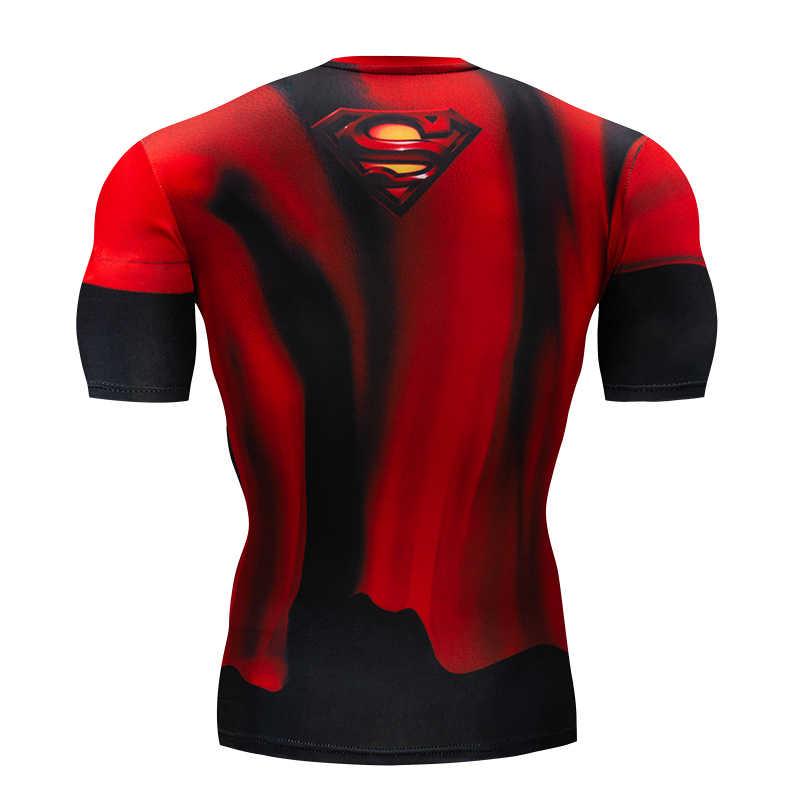 Mannen T-shirt Sportscholen Fitness Slim Tops 3D Super Hero Superman Compressie Shirt Fitness T-shirt Zomer Stretch Ronde Hals Kleding