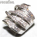 Vecalon Fashion Pave set 170pcs Simulated diamond Cz Engagement Wedding Band ring for Women 10KT White Gold Filled Party ring