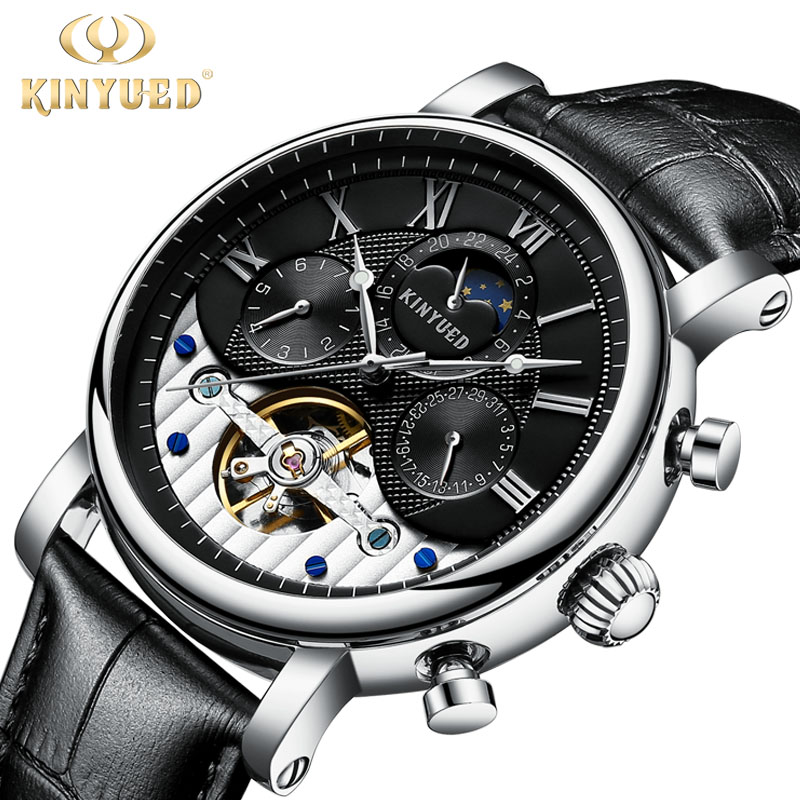 KINYUED Moon Phase Men Mechanical Automatic Watches Water Resistant Leather Fashion Brand Skeleton Watch Calendar Men's Relojes кабель samsung m190s p3100 p3110 p5100 p5110 p6210 p6200