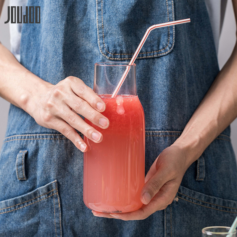 JOUDOO Creative Transparent Glass Water Juice Milk Bottle Clear Heat-resisting with Wooden Stopper 35