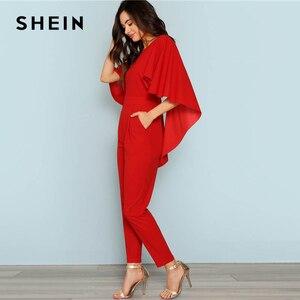 Image 4 - Женский однотонный комбинезон SHEIN, красный комбинезон с открытой спиной и открытым плечом, элегантный эластичный комбинезон накидка на осень