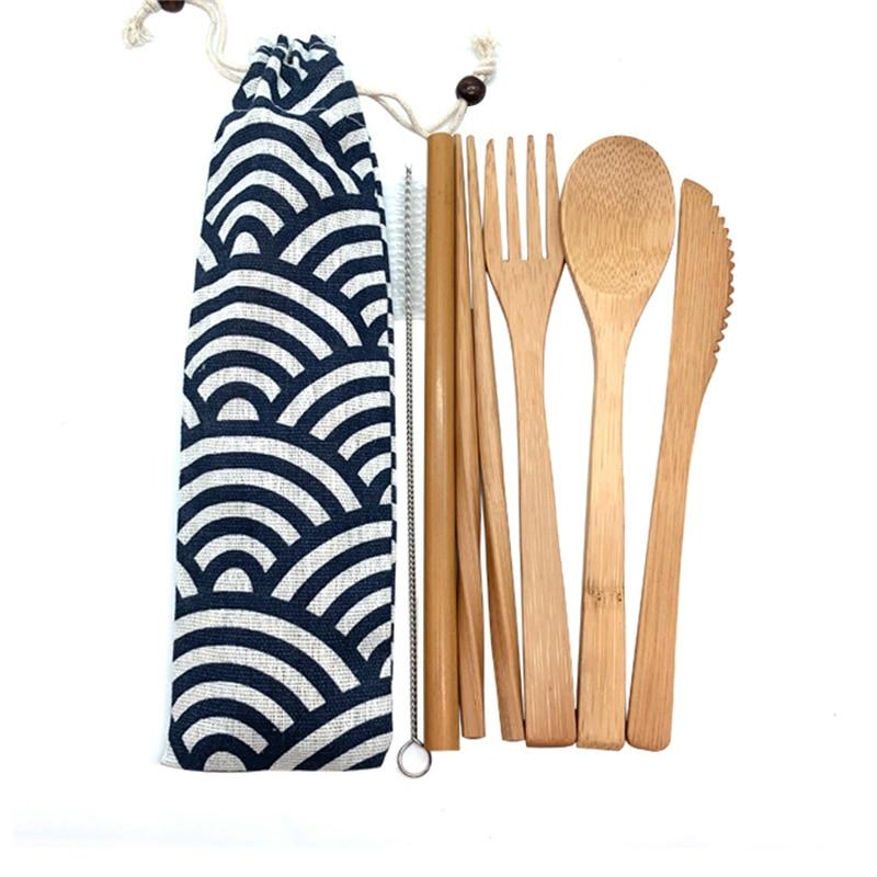 Bamboo Cutlery Set Travel Utensils Biodegradable Wooden Dinnerware Outdoor Portable Flatware Zero Waste Bamboo Tableware Set 1