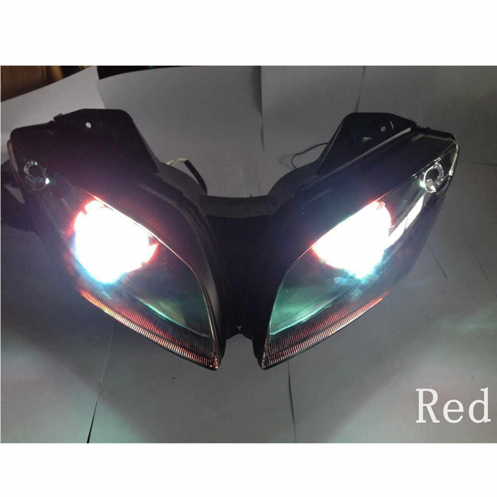 For YAMAHA YZF R15 Head Light Modified LED Head lamp with HID Red Blue  Angel Demon Eyes