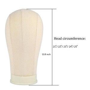 Image 5 - 20/21/22/23/24/25 pollici Beige Formazione Testa di Manichino Modello Tessuti di Cotone Parrucca stand Visualizzazione Make Styling Pratica Mannequin Testa