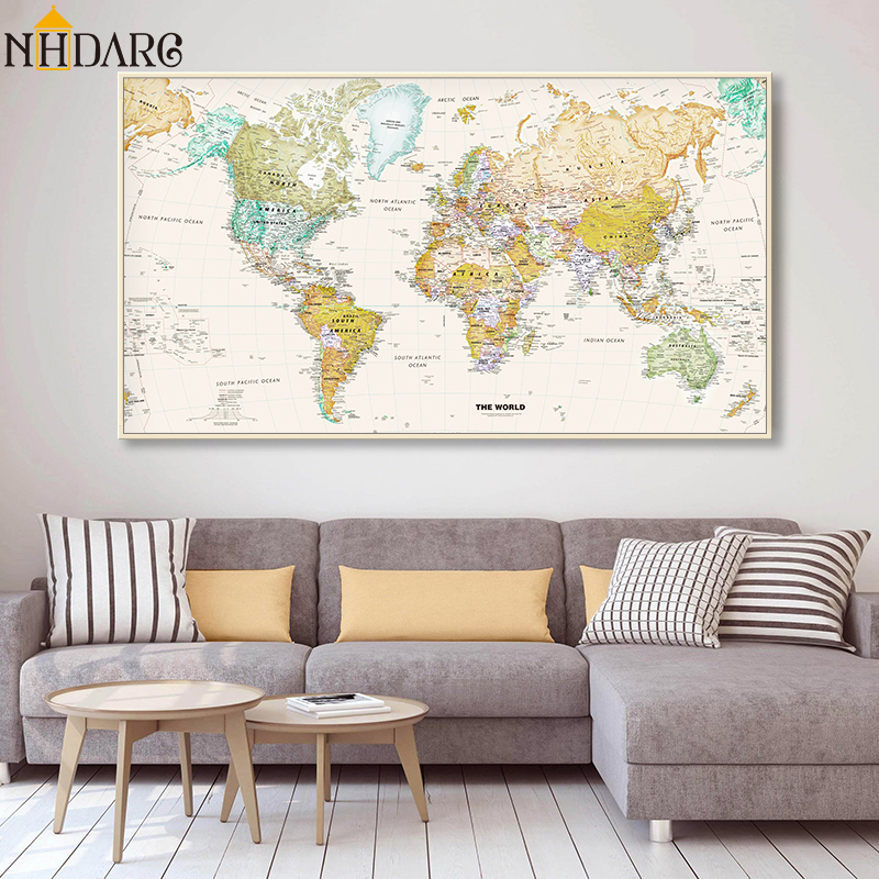 Hot Sale Classic Vintage World Map No Frame Canvas Painting Art Vintage Poster Wall Picture Nordic