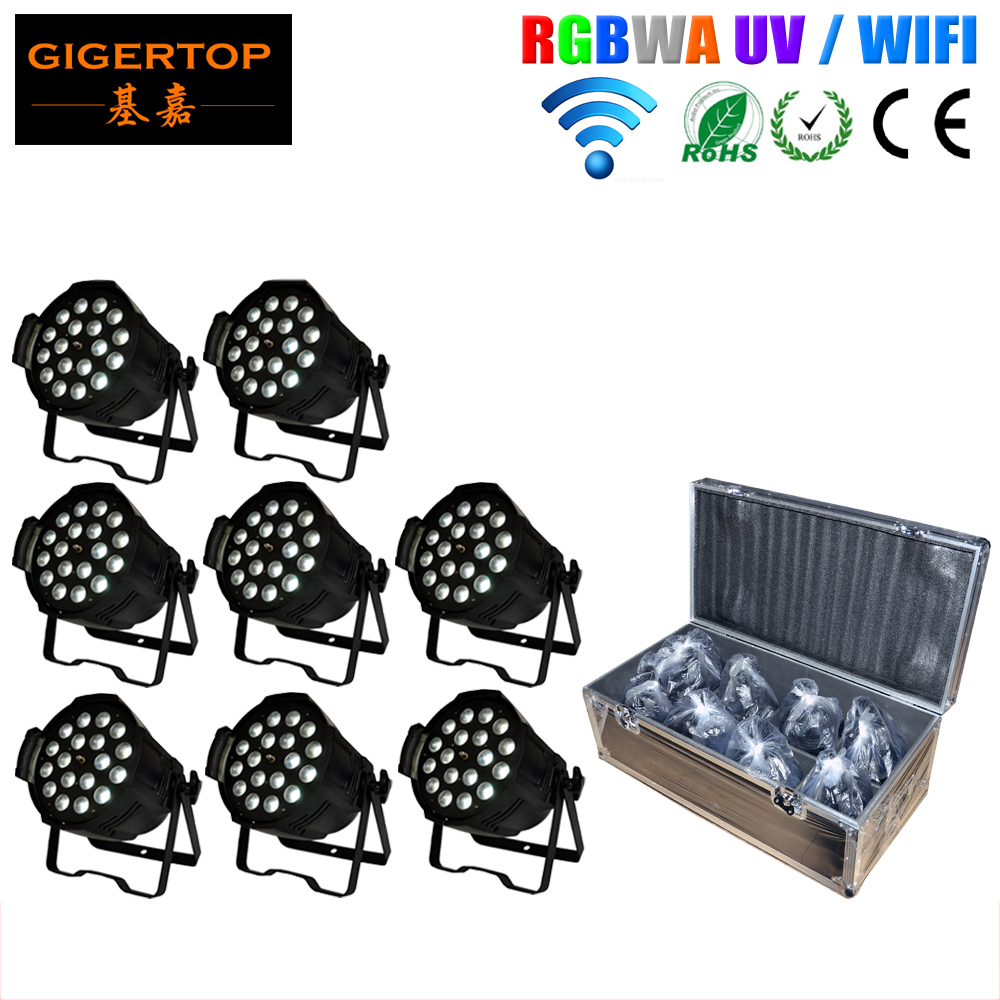 China 8IN1 Flightcase Pack 18x18W Led Par Zoom Wifi Light Smooth Dimmer Frosted Plastic Lens Cooling