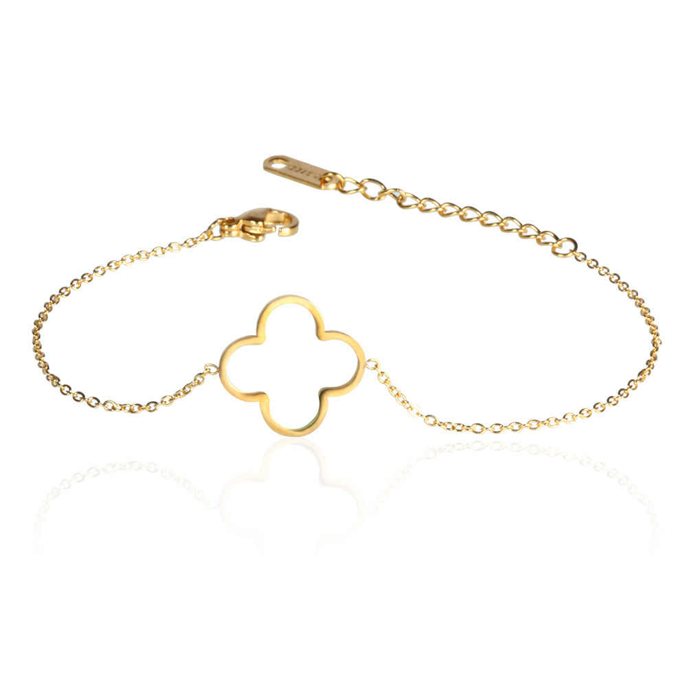 Stainless steel clover bracelet charms chain link bracelets & bangles for women female girls gifts gold silver jewelry