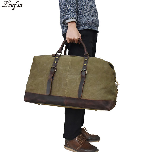 10f9a37303 Fashion Canvas Leather Men Travel Bags Carry on Luggage Bags Men Duffel  Bags Travel Tote Large Weekend Bag Overnight Big duffle