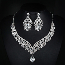 V necklace and earrings luxury crystal jewelry sets wedding engagement bijouterie vintage cz diamond embroidery decoration D022
