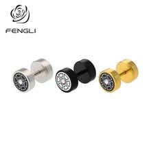 FENGLI Fashion Gold Round Stud Earrings Silver Gold Stainless Steel Jewelry For Cute Women Earrings bijoux