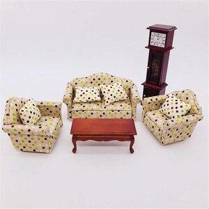 1:12 Кукольный домик миниатюрная гостиная куклы мебель диван набор диван модель цветочный стиль дети ролевые игры игрушка