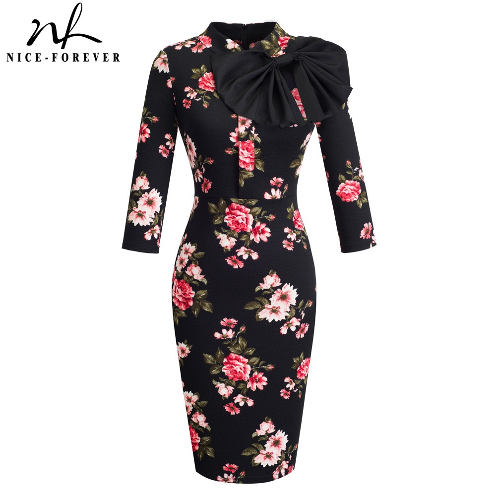 Nice-forever Vintage Elegant Floral With Black Bow Work  Vestidos Office Business Party Bodycon Women Sheath Dress BtyB244