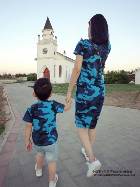 Summer 2016 Family Look T Shirt Dress Mother Son Outfits Camouflage Children Boys T-shirt Family OutFit Dresses e filho