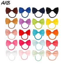 20pcs/lot 3 Hair Bows for Girls with Rubber Band Handmade Fashion Small Bowknot Ponytail Ropes Party Kids Tie