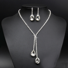 New Hot Wedding Bridal Rhinestone Crystal Drop Necklace Earring Plated Jewelry Sets