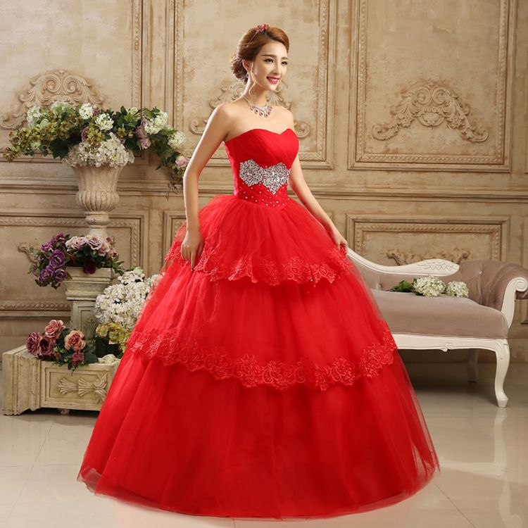 2017 new stock plus size women pregnant bridal gown wedding dress red satin ball gown sweetheart bling diamond strapless sexy 80