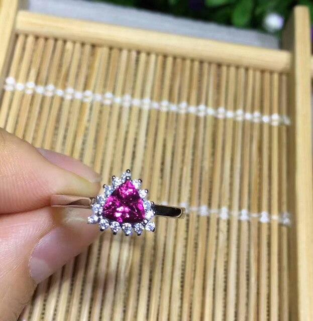0b7f2719bbde Anillo de turmalina roja Natural Anillo de piedras preciosas Naturales s925 plata  Moda elegante clásico triángulo