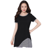Korean Summer Women T Shirt Large Size Long Style Women Tops O Neck Short Sleeve Stripes