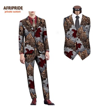 2018 african spring&autumn men's formal suit AFRIPRIDE full sleeve single breasted top+sleeveless vest+full length pants A731608