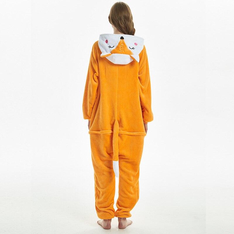 Amusing Orange Fox Animal Kigurumi Flannel Onesie Soft Women Pajamas Party Bodysuit Cosplay Unisex Sleepwear Halloween Pyjamas (4)