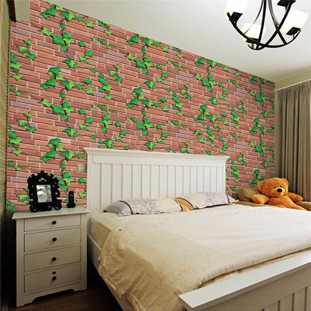 2018 New 3d Wall Stickers Paper Brick Stone Rustic Effect Self