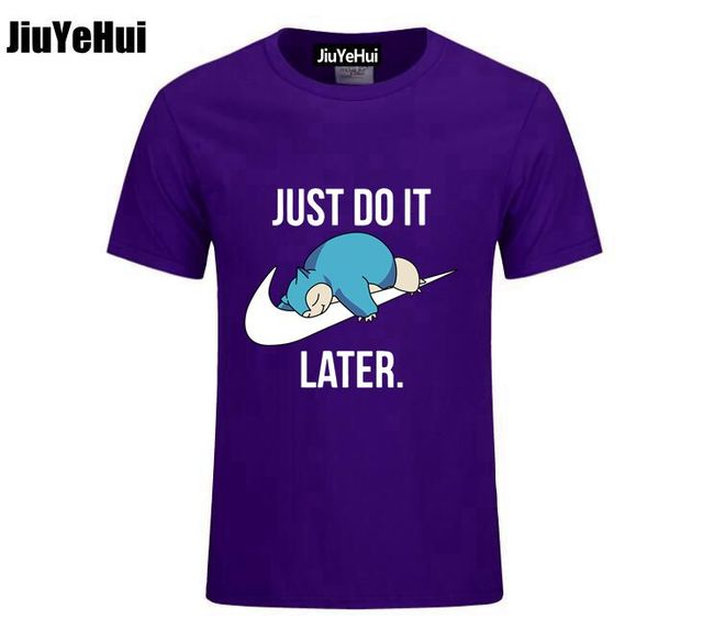 Just Do it Later Pokemon T-Shirt Reality Game Snorlax t shirt funny t shirt men clothing camisetas hombre short sleeve t-shirt 2
