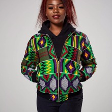 New 2018 Sexy Indie Folk Womens Jacket Coat Dashiki African Printed Slim Zipper