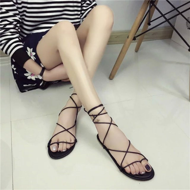 2019 Europe United States new toe shoes flat shoes cross straps flat with Roman sandals women 39 s beach shoes black in Women 39 s Sandals from Shoes