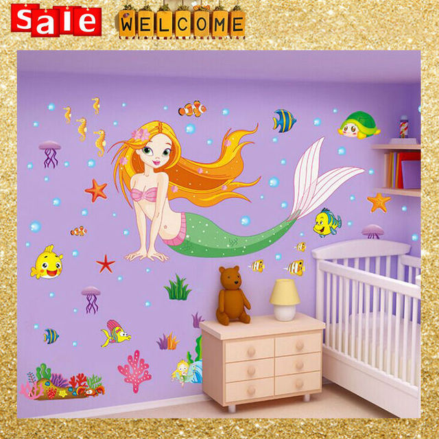 Large Cartoon Undersea Mermaid Fish Starfish Wall stickers for Kid Nursery  , Tortoise Bubble Princess Big