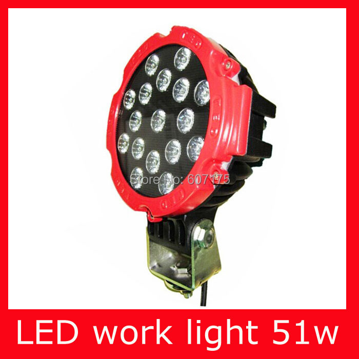 ФОТО factory wholesale 7 inch 51W LED Work Light Flood Beam euro beam spot beam 12V 24V Led Tractor Work Light