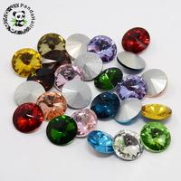 8/10/12/14/16/18mm Glass Pointed Back Rhinestone for Jewelry Making Accessories Findings, Back Plated, Faceted Cone, Mixed Color