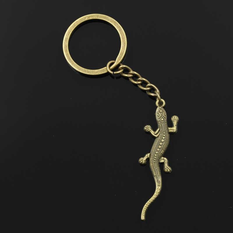 Moda 30mm Chave Anel Chave Chaveiro Chaveiro de Metal Jóias de Prata Antigo Bronze Chapeado lagarto gecko 56x15mm pingente