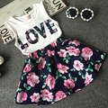 2016 New Fashion Cute Baby Girl Clothes Set Summer Sleeveless T-Shirt Top and Floral Skirt 2PCS Little Girls Outfit Set 100% Top