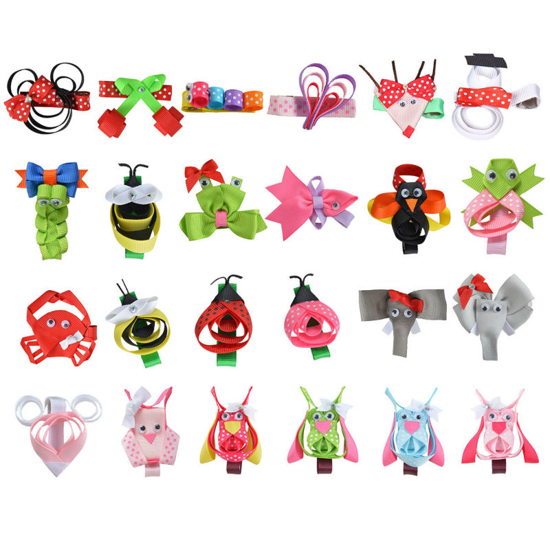 24PCS Hair Accessories 2-2.5Hair Clip For Girls Hairbows with Clips DIY Cute animals Hairpin Ribbon Kids Headwear XCA010 12 colors cute girls hairpins children elsa side knotted clip hairpin hair clip small size hair accessories