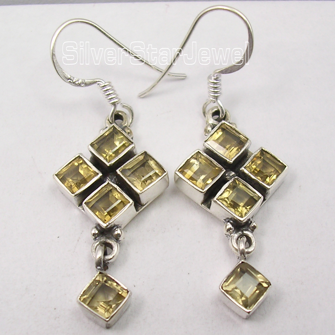 Silver Citrines LOVELY SQUARES Dangle Earrings 4.4CM