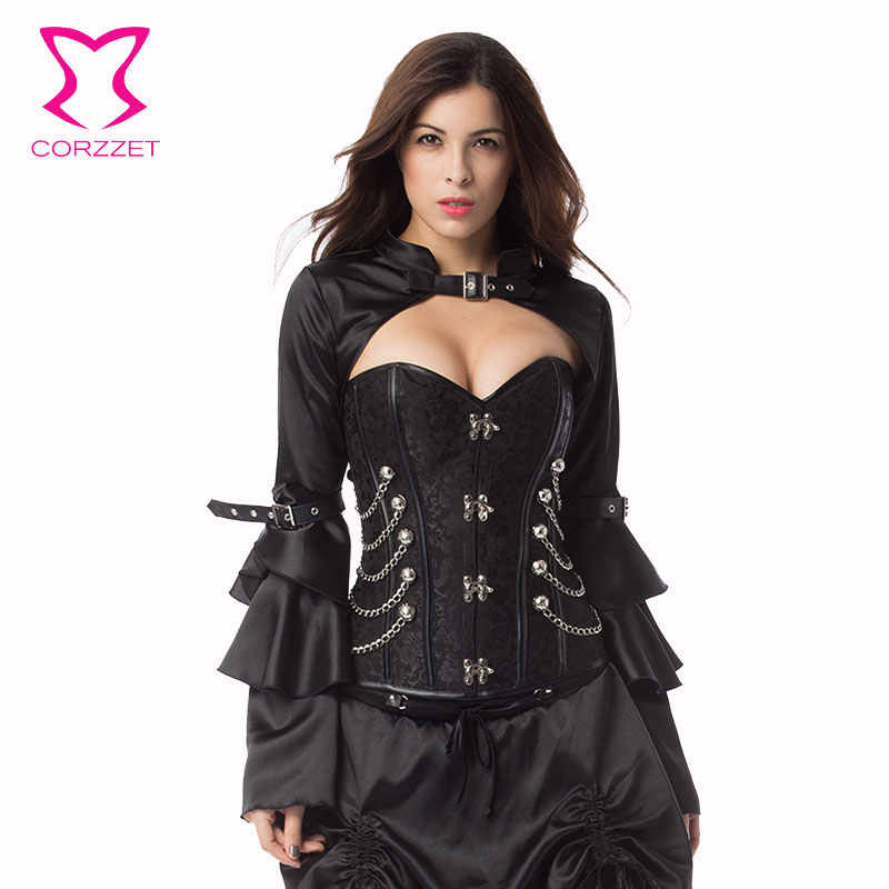 33a9cfe575 ... Corzzet Black Brocade Steampunk Corset Armor Waist slimming Steel Boned  Bustiers Top Burlesque Halloween Overbust Corset ...