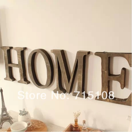 vintage wooden letter free standing big size 23cm height home decor wall furnishing articles english letters 2pcslot in figurines miniatures from home - Home Decor Articles