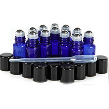 3ml Cobalt Blue Amber Glass Roll on Bottles with Stainless Steel Roller Balls 0.5 ml Droppers Included 12pcs/lot P108