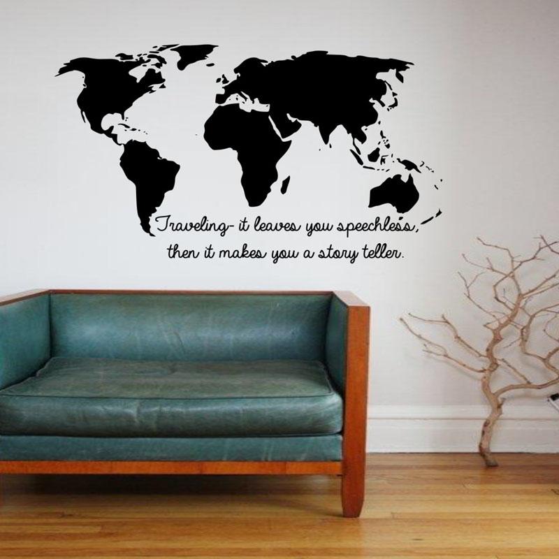 DCTOP Viajar Ele Deixa Você Sem Palavras Cotações Adesivos De Parede Mapa  Do Mundo Para Casa Decor Art Vinyl Adesivos De Parede . Part 68