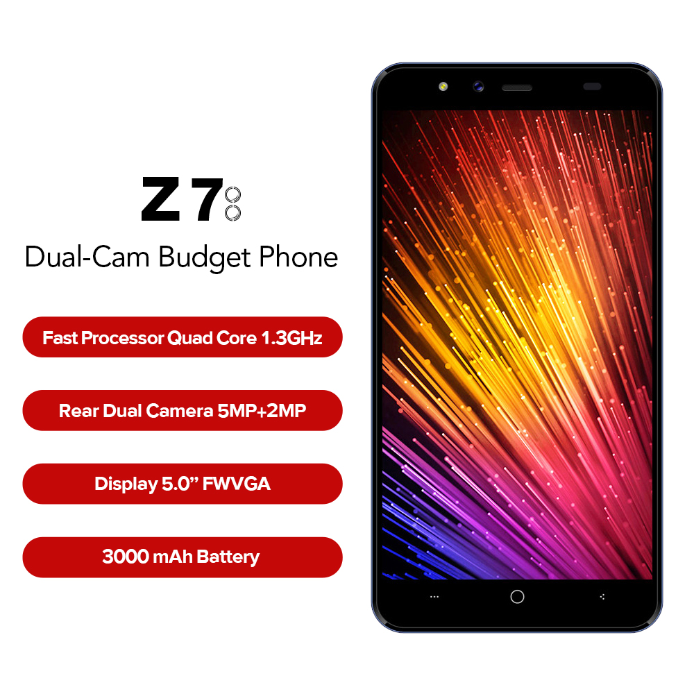 LEAGOO Z7 5.0 Inch Samrt 4G 3000mAh Mobile Phone SC9832A Quad Core Android 7.0 5MP+2MP 1GB RAM 8GB ROM GPS Bluetooth Smartphone ...