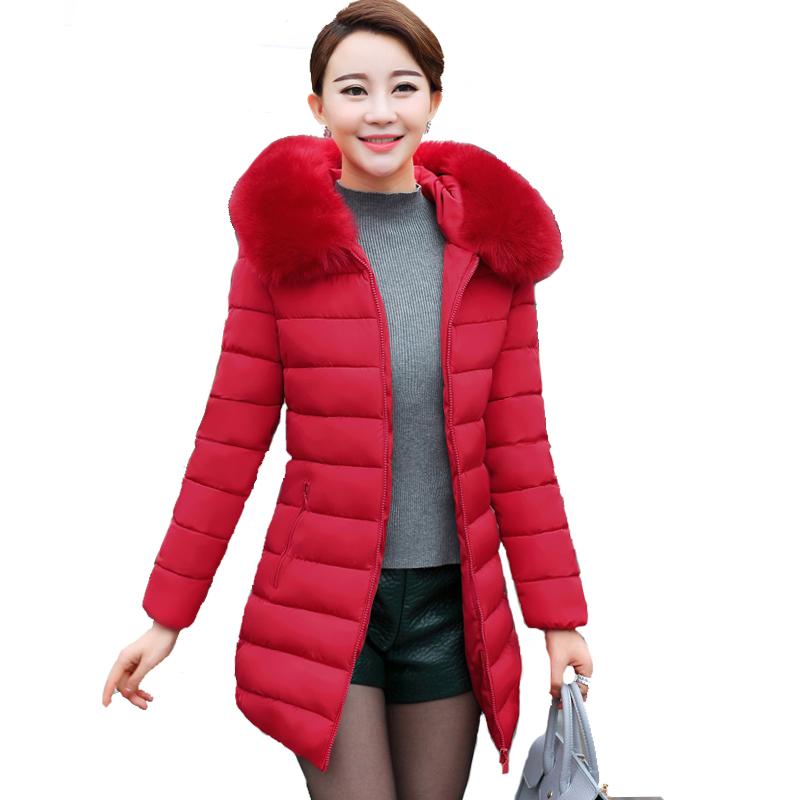 Artificial fur collar plus size XL-5XL winter jacket women hooded slim coat long warm padded parka casaco feminino inverno solid xl 5xl winter coat women plus size middle aged mother cotton padded clothes casual hooded solid long sleeve parka thick a4263