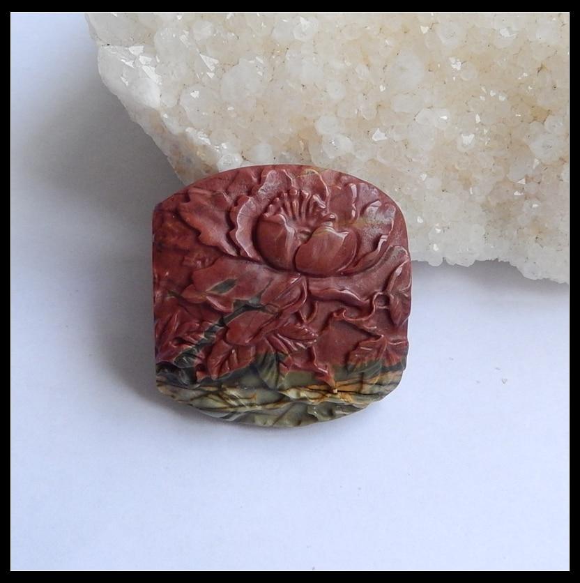 64c067aa5c288 الجملة 1 قطع الحجر الطبيعي متعدد الألوان بيكاسو جاسبر منحوت زهرة كابوشون  40x38x9 ملليمتر 23.4 جرام