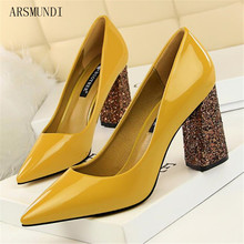 ARSMUNDI Fashion sequined cloth heels For women office shoes New Patent leather pointed toe high-heeled M265
