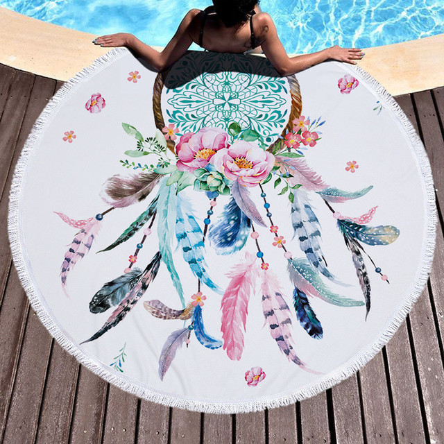 XC USHIO 2018 Hot Round Beach Towel With Tassels Soft Microfiber 150cm Summer Swimming Picnic Blanket Wall Tapestry Multi-Color